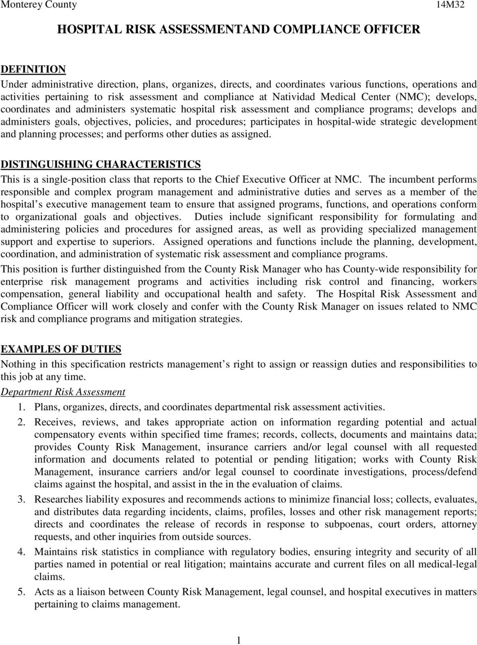Hospital risk assessmentand compliance officer pdf - Insurance compliance officer job description ...