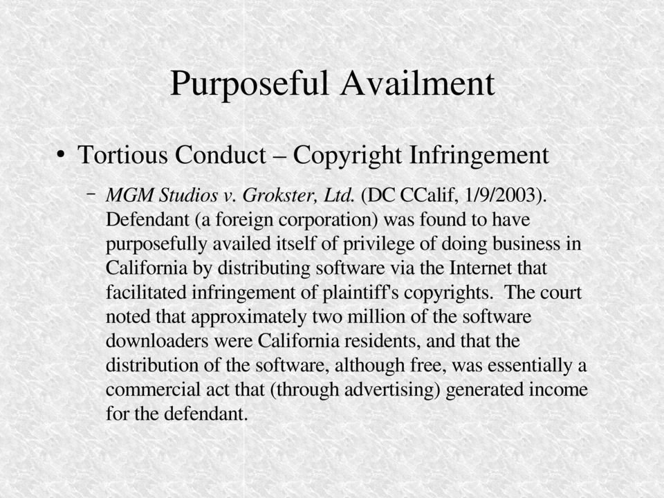software via the Internet that facilitated infringement of plaintiff's copyrights.