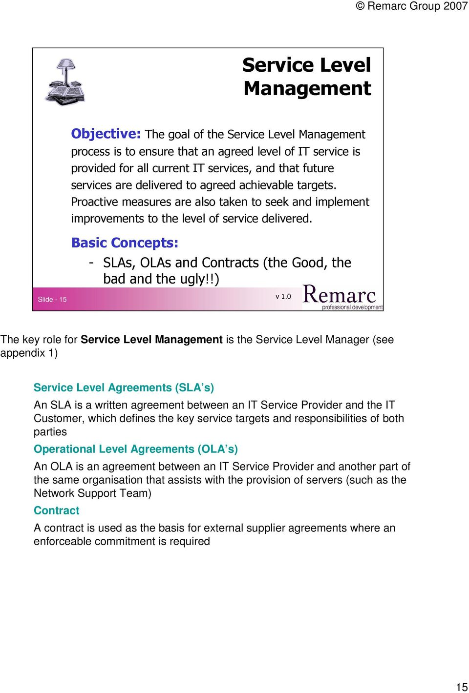 Basic Concepts: - SLAs, OLAs and Contracts (the Good, the bad and the ugly!