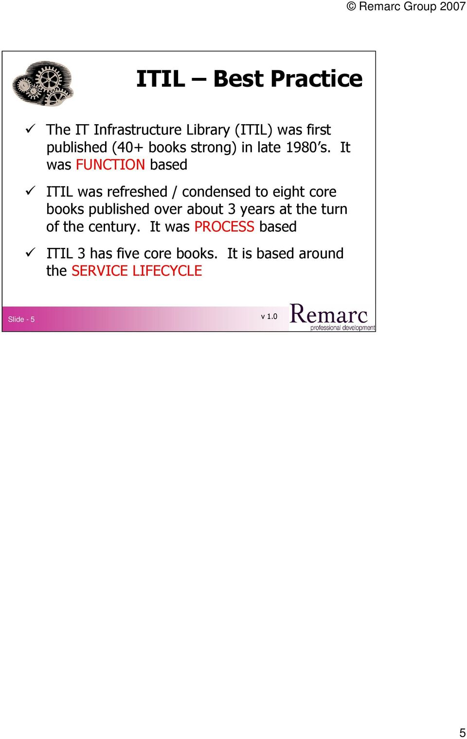 It was FUNCTION based ITIL was refreshed / condensed to eight core books published