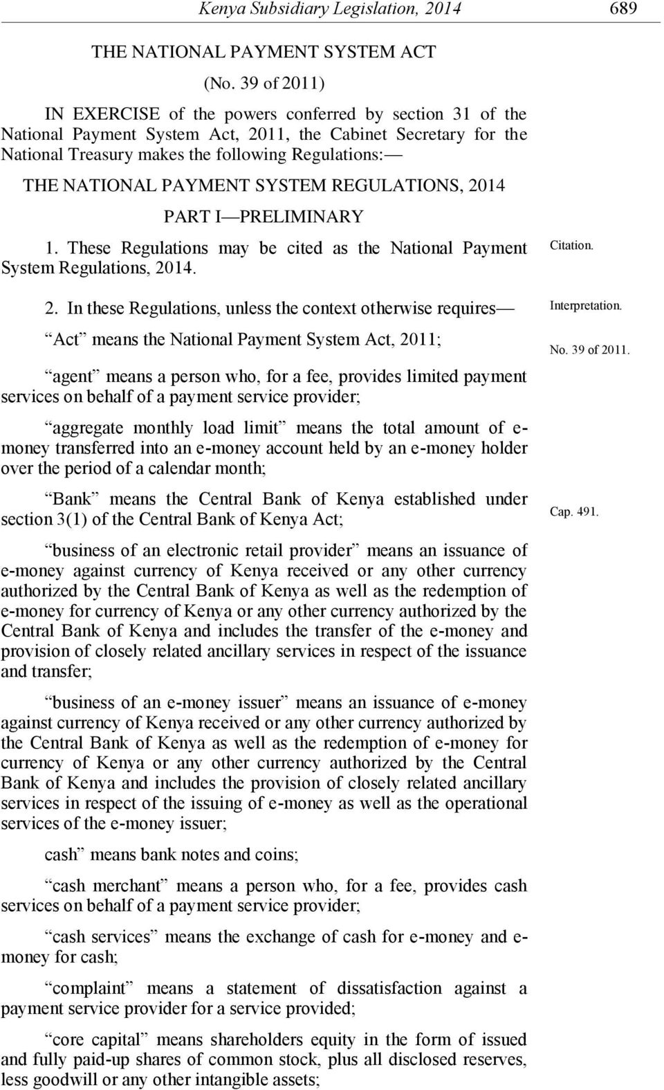 PAYMENT SYSTEM REGULATIONS, 20