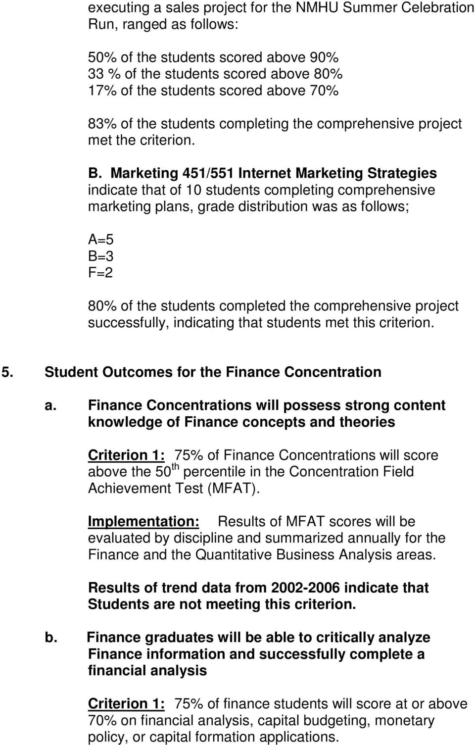 Marketing 451/551 Internet Marketing Strategies indicate that of 10 students completing comprehensive marketing plans, grade distribution was as follows; A=5 B=3 F=2 80% of the students completed the