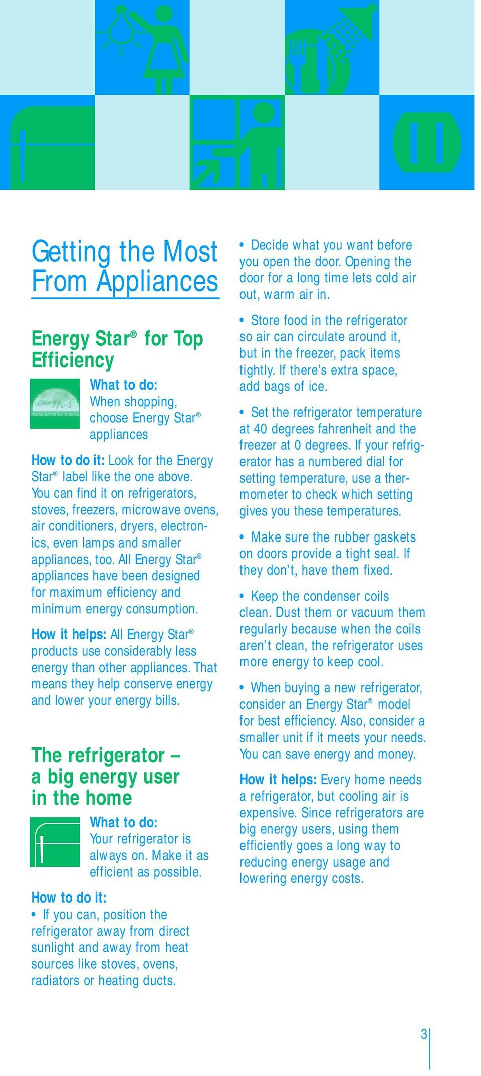 All Energy Star appliances have been designed for maximum efficiency and minimum energy consumption. How it helps: All Energy Star products use considerably less energy than other appliances.