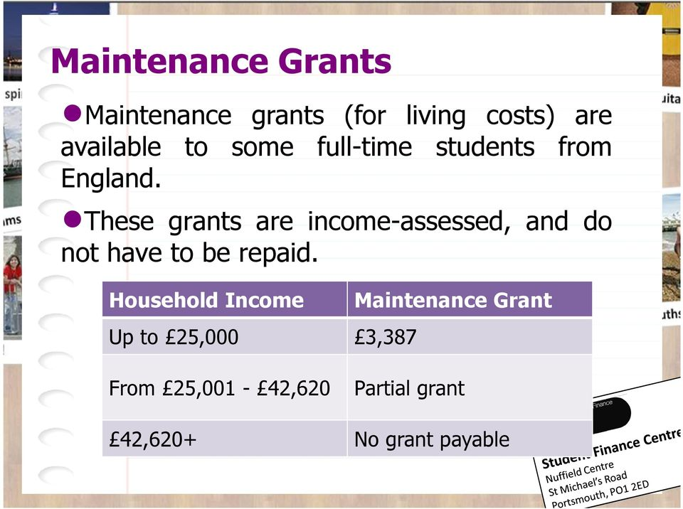 These grants are income-assessed, and do not have to be repaid.