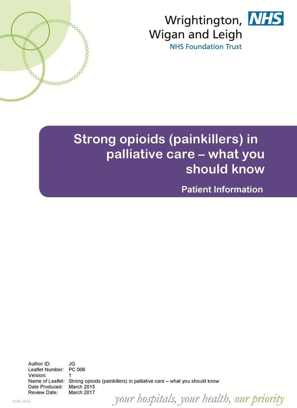 (painkillers) in palliative care what you should know Date Produced: March 2015 Review