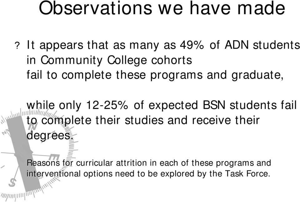 these programs and graduate, while only 12-25% 25% of expected BSN students fail to complete