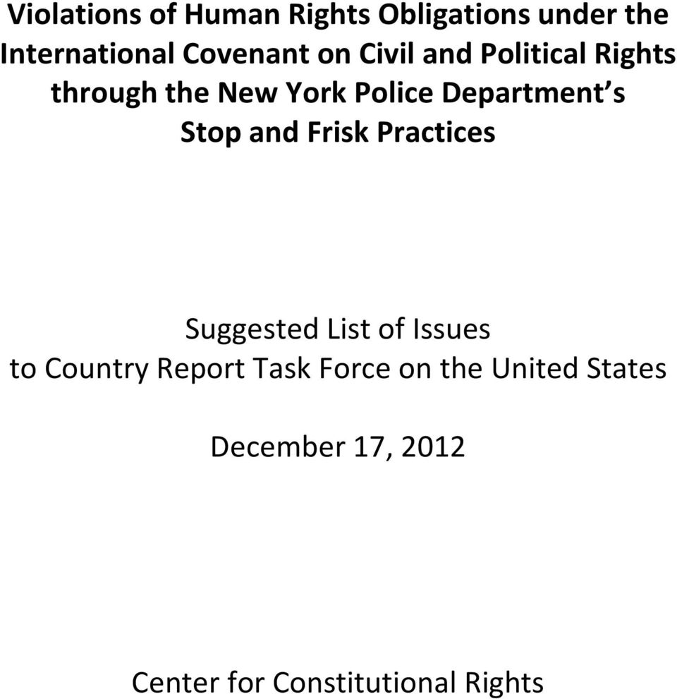 Stop and Frisk Practices Suggested List of Issues to Country Report Task