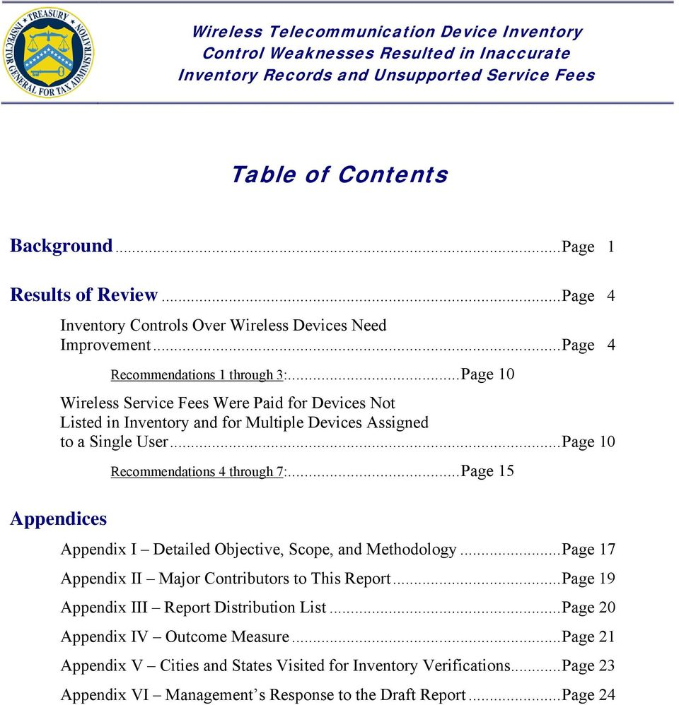 .. Page 10 Appendices Recommendations 4 through 7:... Page 15 Appendix I Detailed Objective, Scope, and Methodology... Page 17 Appendix II Major Contributors to This Report.