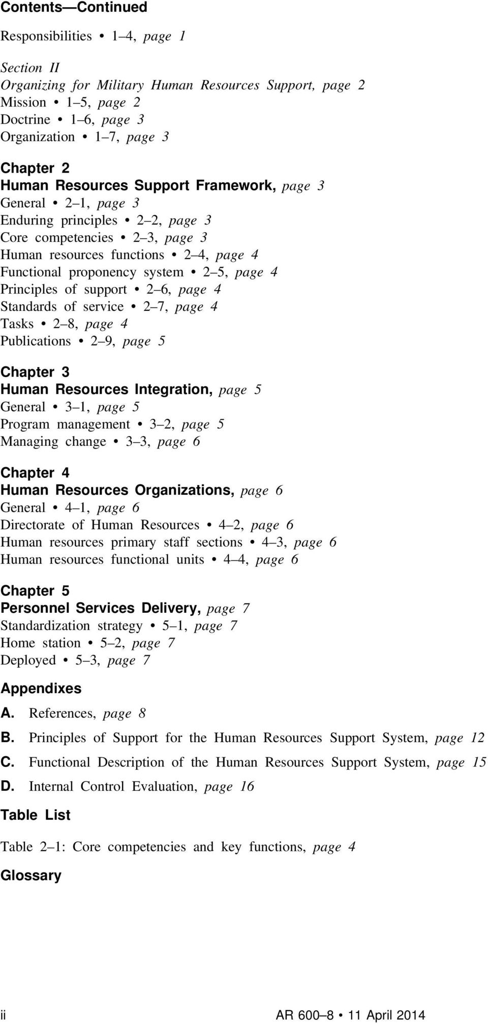 Principles of support 2 6, page 4 Standards of service 2 7, page 4 Tasks 2 8, page 4 Publications 2 9, page 5 Chapter 3 Human Resources Integration, page 5 General 3 1, page 5 Program management 3 2,