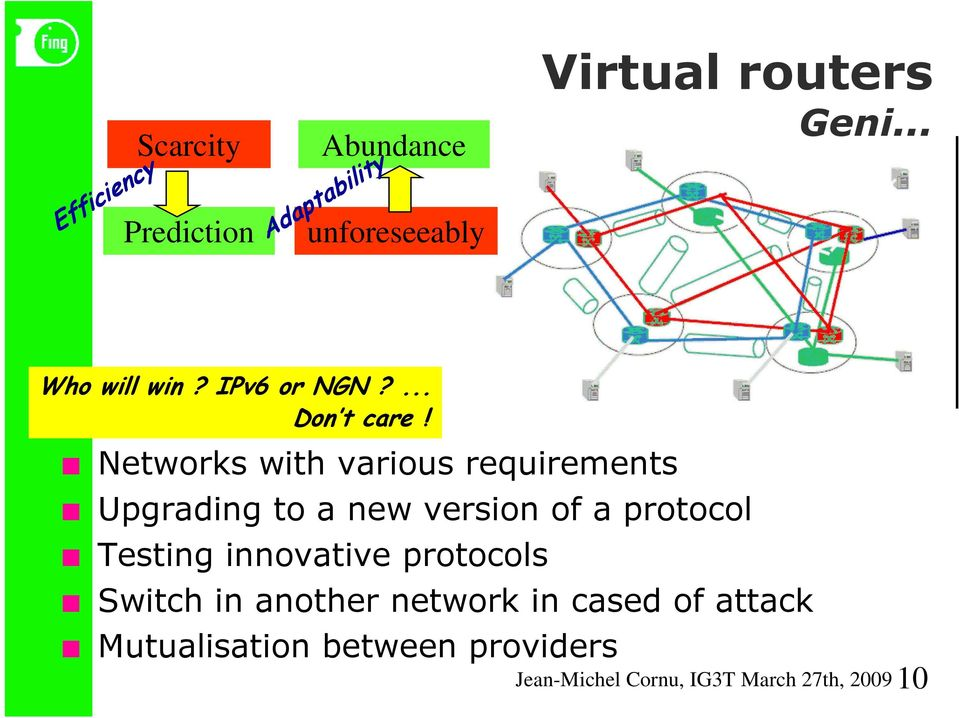 Testing innovative protocols Switch in another network in cased of attack