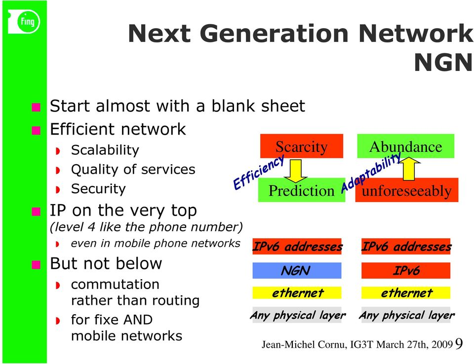 But not below commutation rather than routing for fixe AND mobile networks Efficiency NGN ethernet