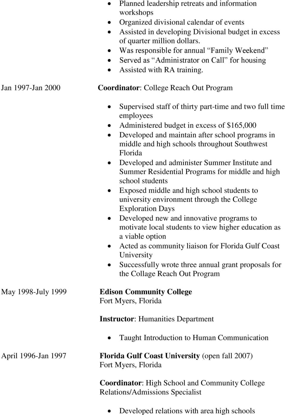 Jan 1997-Jan 2000 Coordinator: College Reach Out Program Supervised staff of thirty part-time and two full time employees Administered budget in excess of $165,000 Developed and maintain after school