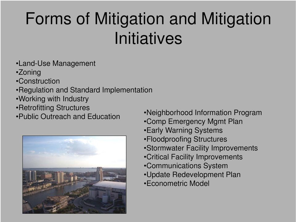 Neighborhood Information Program Comp Emergency Mgmt Plan Early Warning Systems Floodproofing Structures