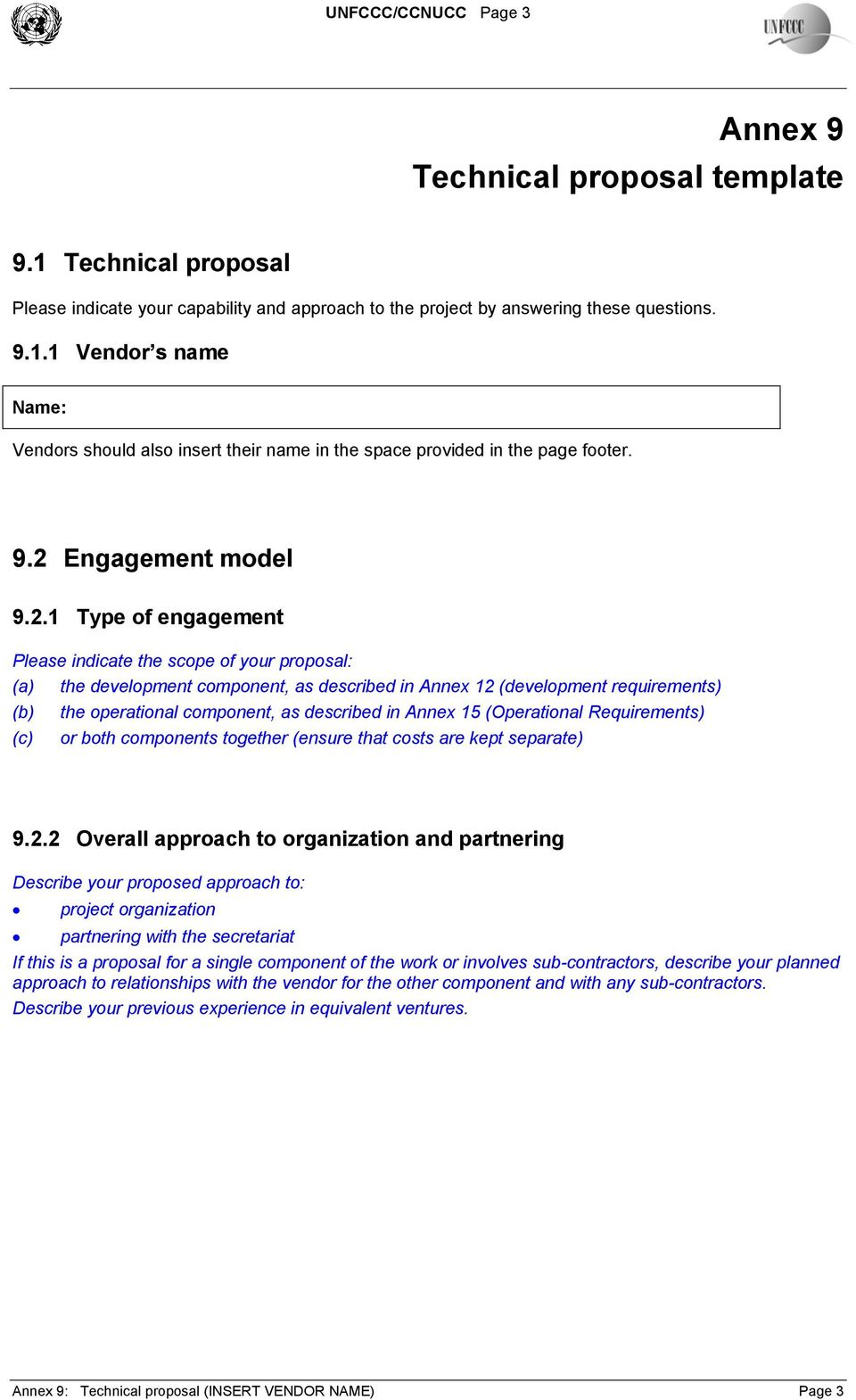 Annex 9 Technical Proposal Template Table Of Contents Pdf