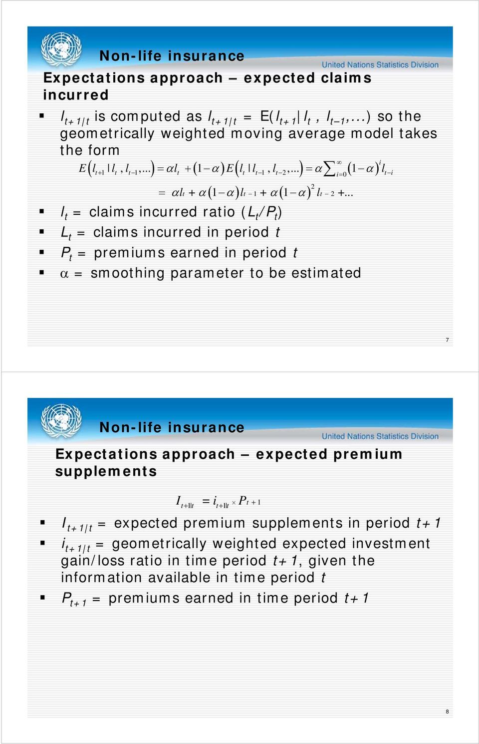 .. l t = claims incurred ratio (L t /P t ) L t = claims incurred in period t P t = premiums earned in period t = smoothing parameter to be estimated 7 Expectations approach