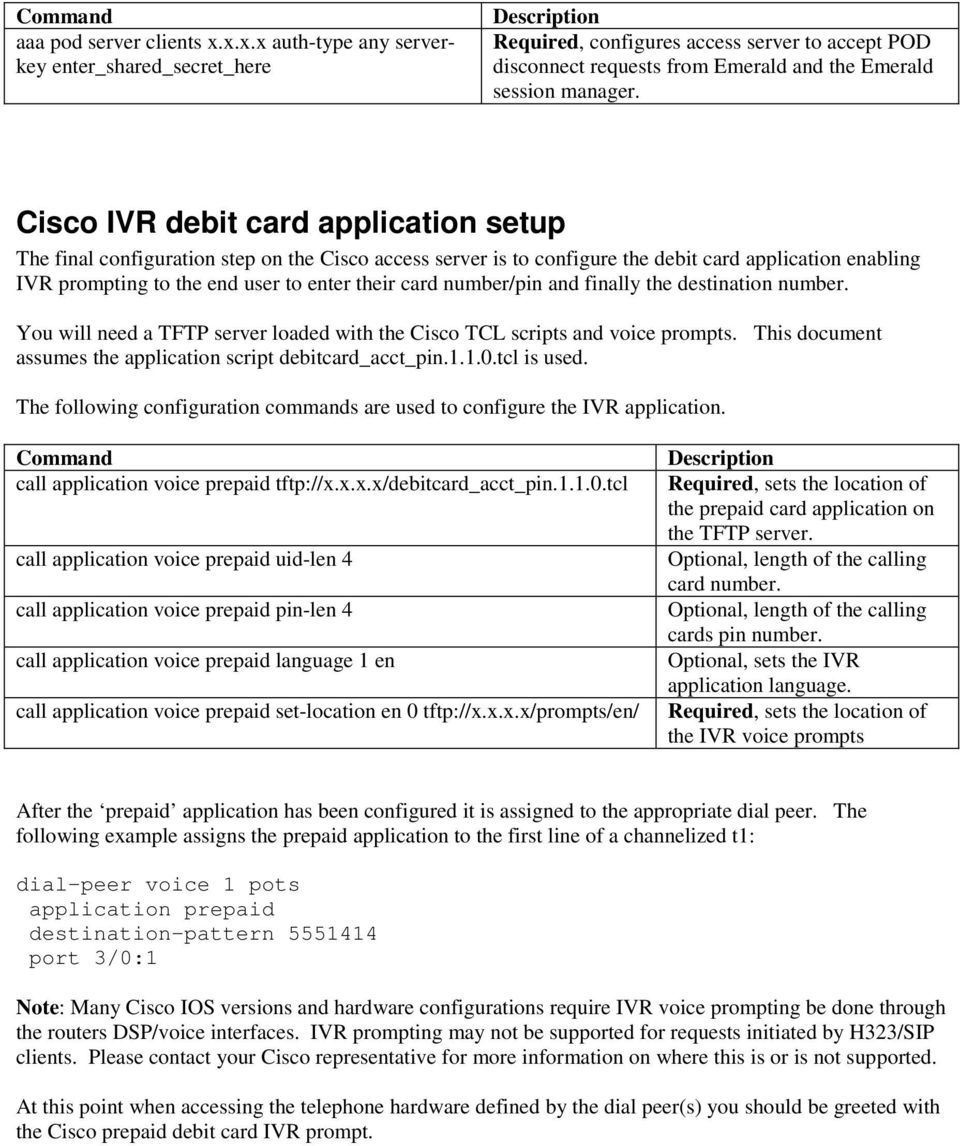 Cisco IVR debit card application setup The final configuration step on the Cisco access server is to configure the debit card application enabling IVR prompting to the end user to enter their card