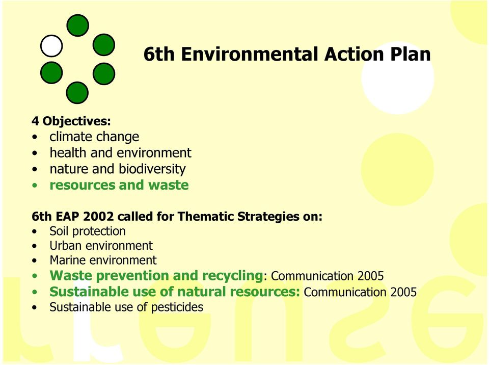 protection Urban environment Marine environment Waste prevention and recycling:
