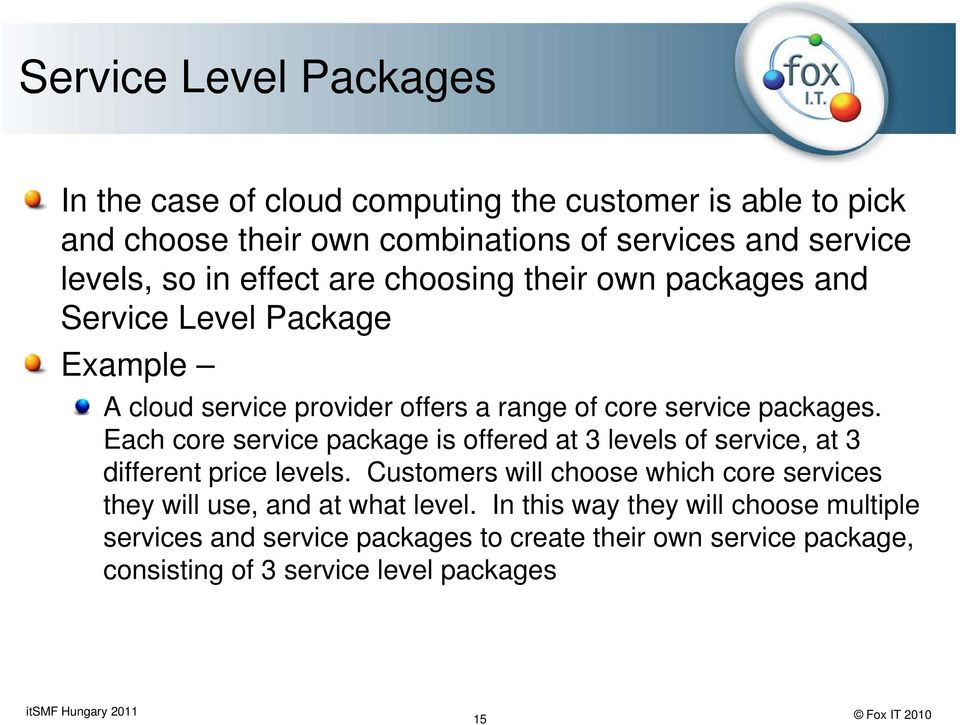 Each core service package is offered at 3 levels of service, at 3 different price levels.