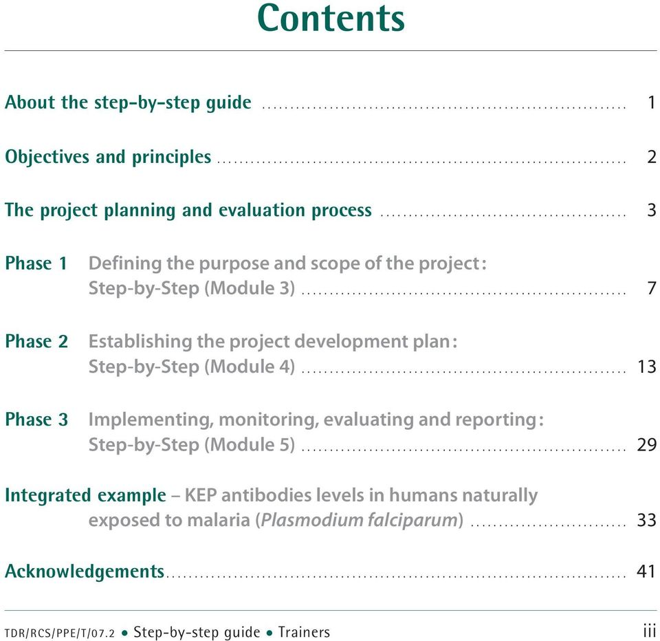 .. 7 Phase 2 Establishing the project development plan : Step-by-Step (Module 4).