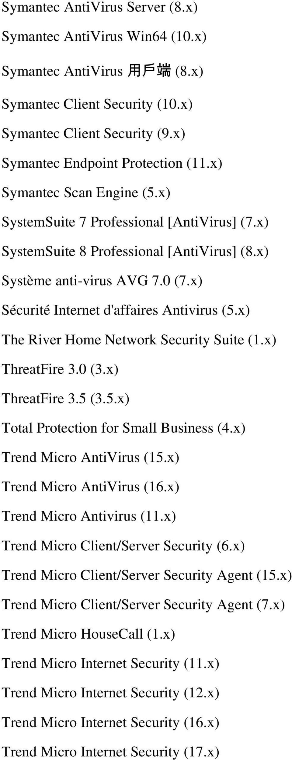 x) The River Home Network Security Suite (1.x) ThreatFire 3.0 (3.x) ThreatFire 3.5 (3.5.x) Total Protection for Small Business (4.x) Trend Micro AntiVirus (15.x) Trend Micro AntiVirus (16.