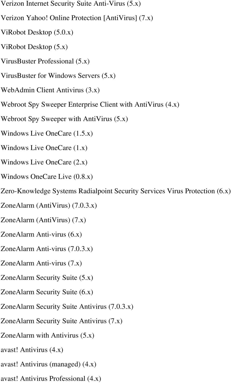 5.x) Windows Live OneCare (1.x) Windows Live OneCare (2.x) Windows OneCare Live (0.8.x) Zero-Knowledge Systems Radialpoint Security Services Virus Protection (6.x) ZoneAlarm (AntiVirus) (7.0.3.