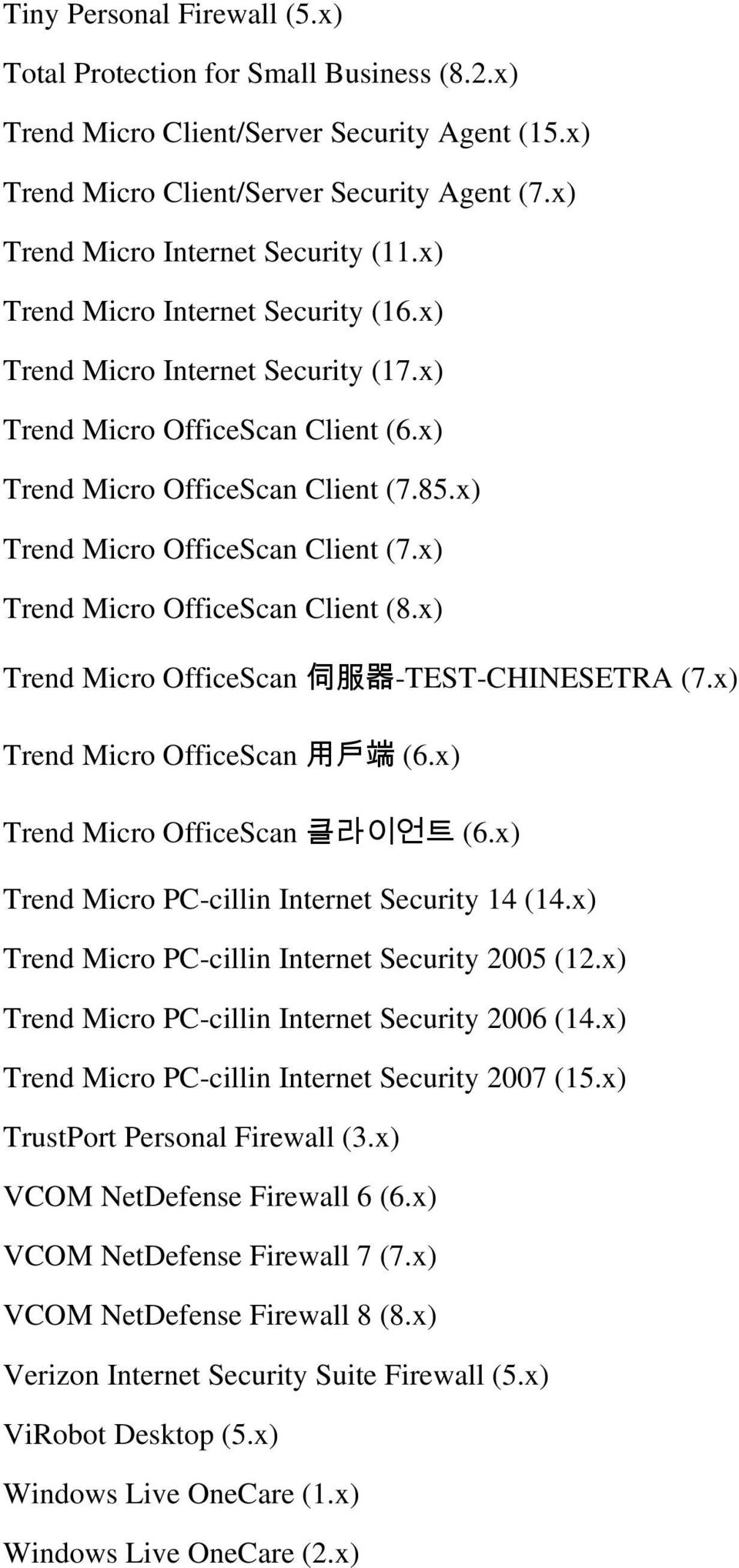 x) Trend Micro OfficeScan Client (7.x) Trend Micro OfficeScan Client (8.x) Trend Micro OfficeScan 伺 服 器 -TEST-CHINESETRA (7.x) Trend Micro OfficeScan 用 戶 端 (6.x) Trend Micro OfficeScan 클라이언트 (6.