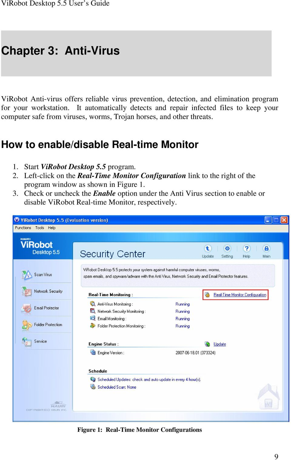How to enable/disable Real-time Monitor 2.