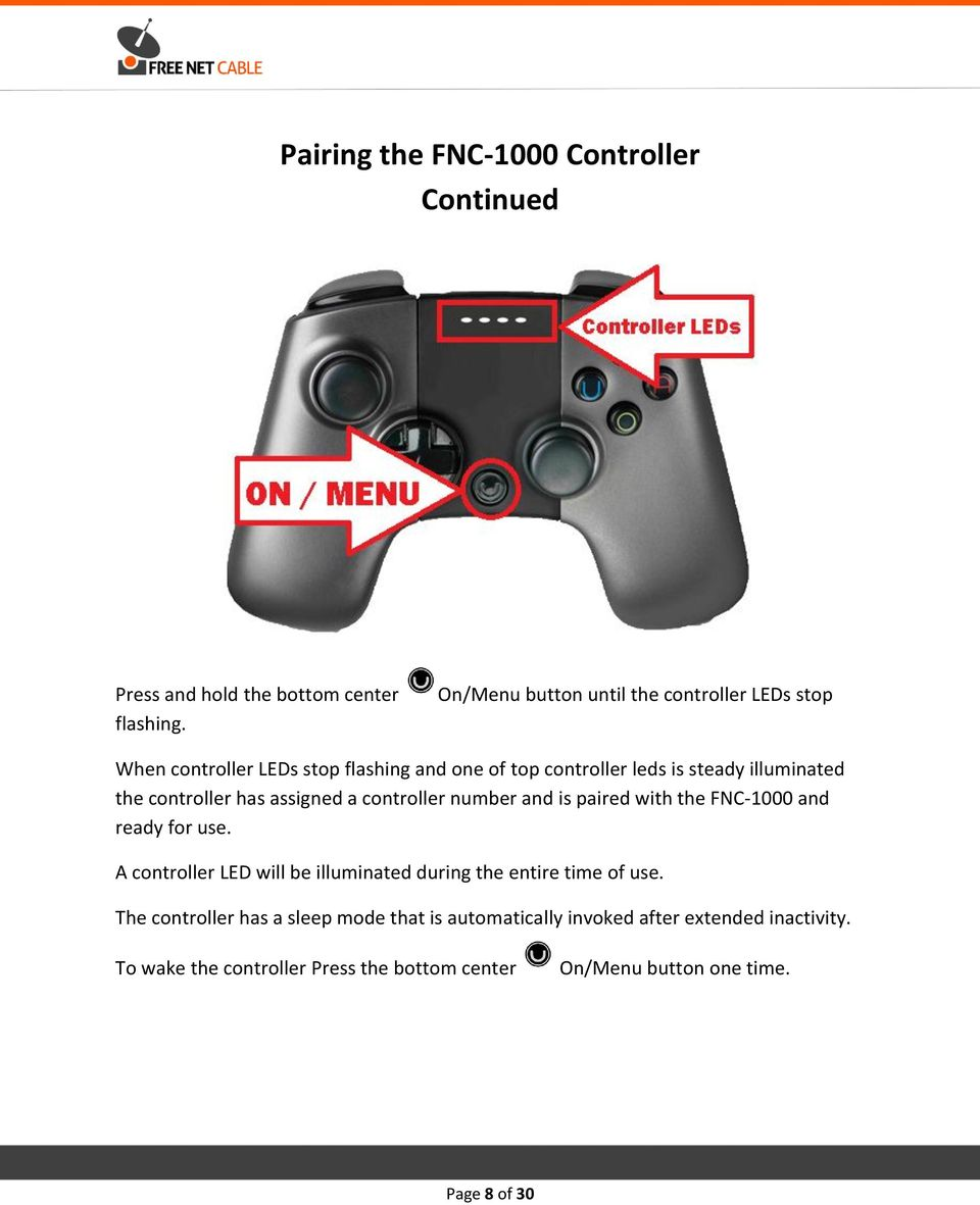 controller has assigned a controller number and is paired with the FNC-1000 and ready for use.