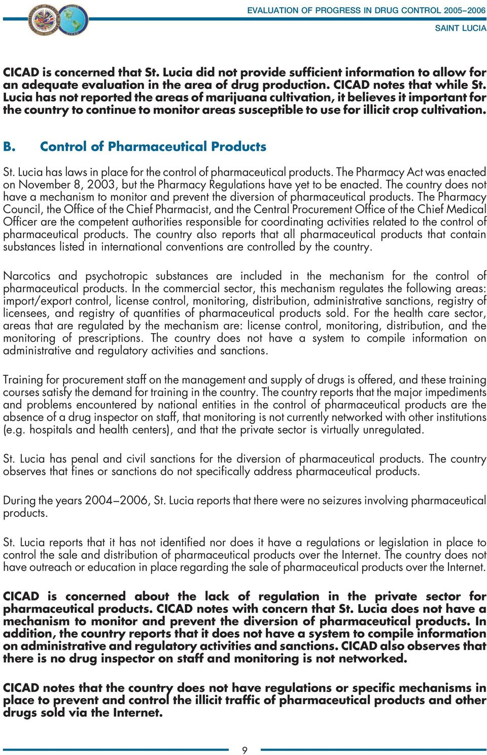 Control of Pharmaceutical Products St. Lucia has laws in place for the control of pharmaceutical products.
