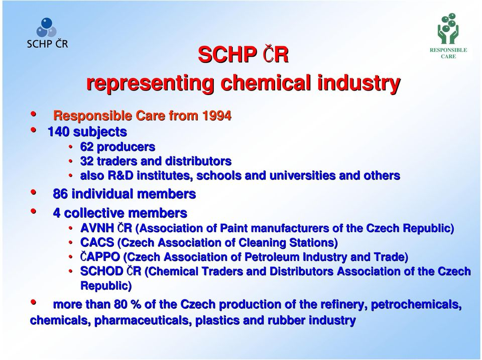Association of Cleaning Stations) ČAPPO (Czech Association of Petroleum Industry and Trade) SCHOD ČR (Chemical Traders and Distributors Association