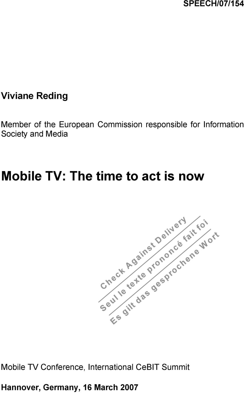 Media Mobile TV: The time to act is now Mobile TV
