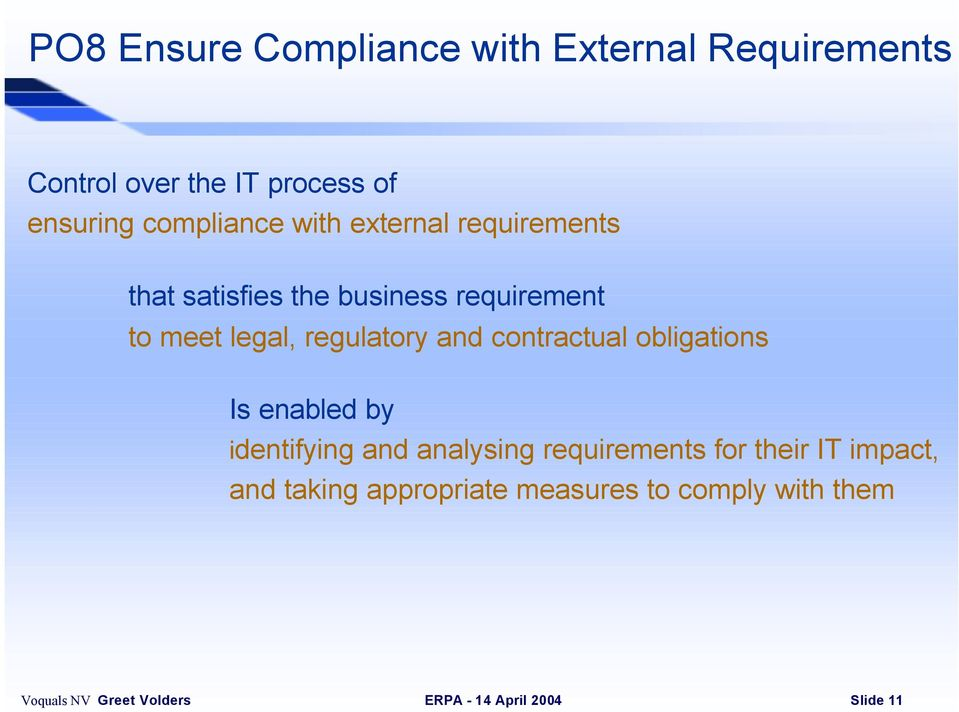 legal, regulatory and contractual obligations Is enabled by identifying and analysing