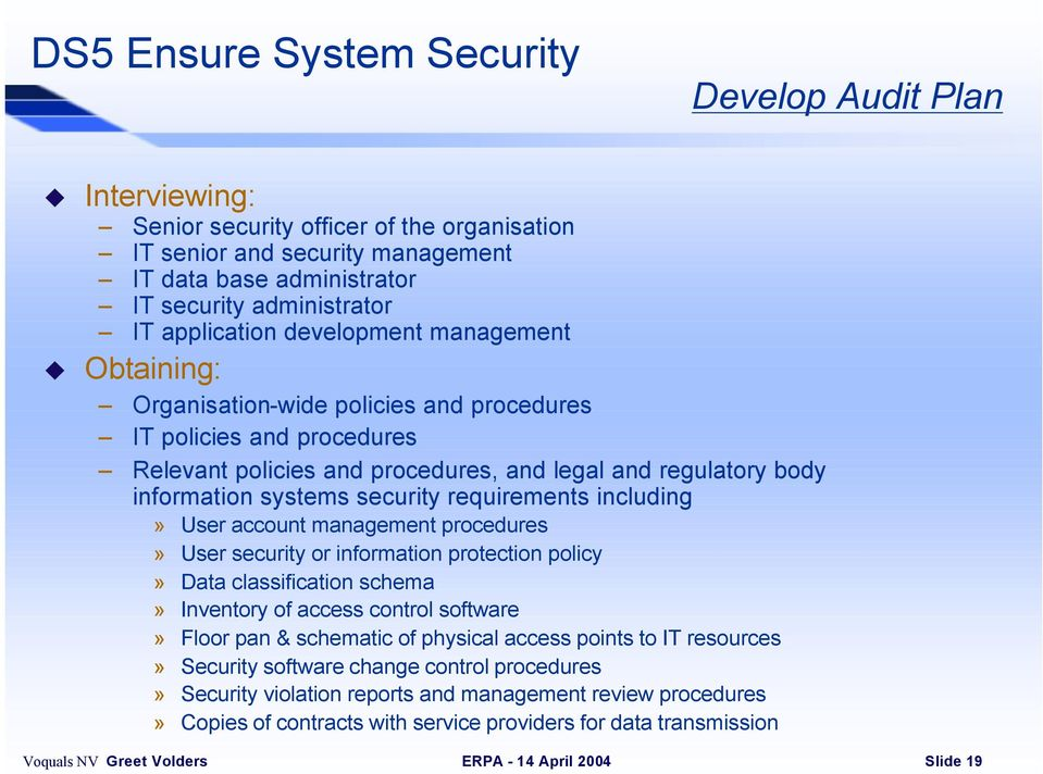 security requirements including» User account management procedures» User security or information protection policy» Data classification schema» Inventory of access control software» Floor pan &