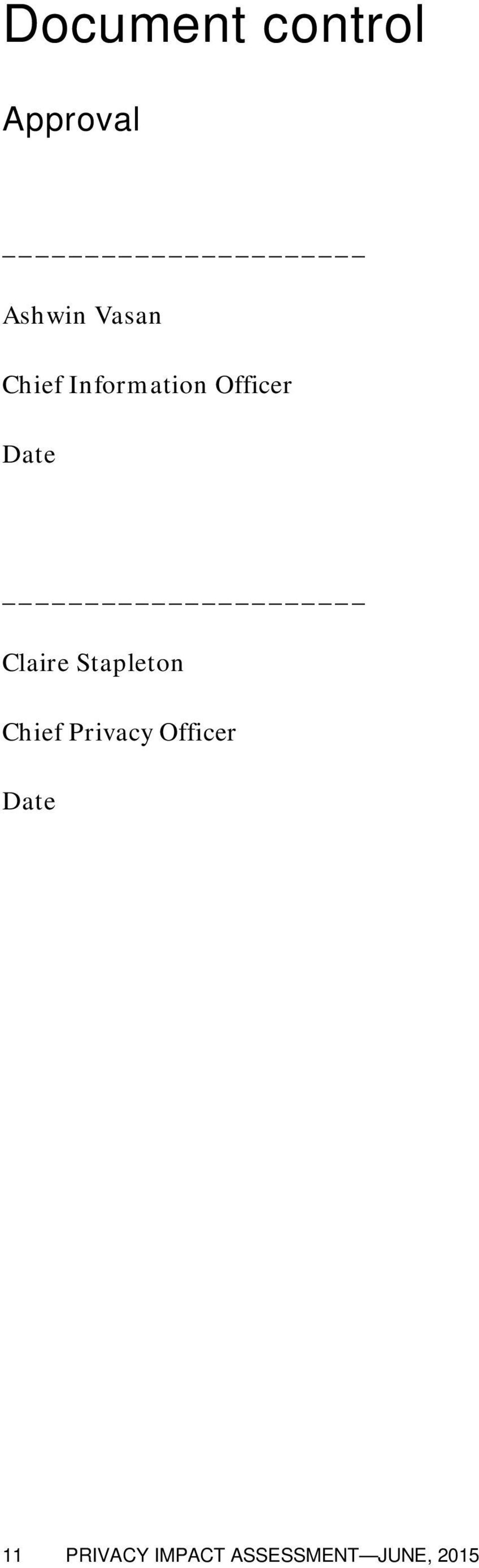 Stapleton Chief Privacy Officer Date