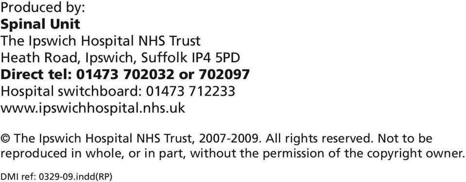 nhs.uk The Ipswich Hospital NHS Trust, 2007-2009. All rights reserved.