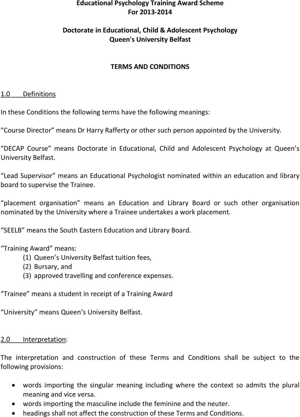 Educational Psychology Training Award Scheme For Doctorate in ...