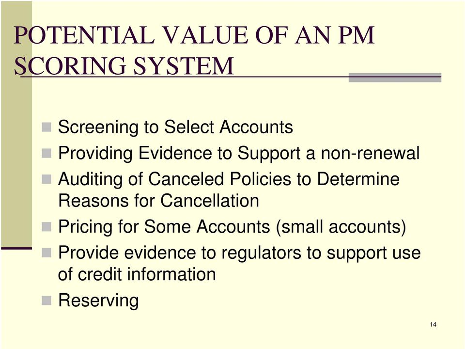 to Determine Reasons for Cancellation Pricing for Some Accounts (small