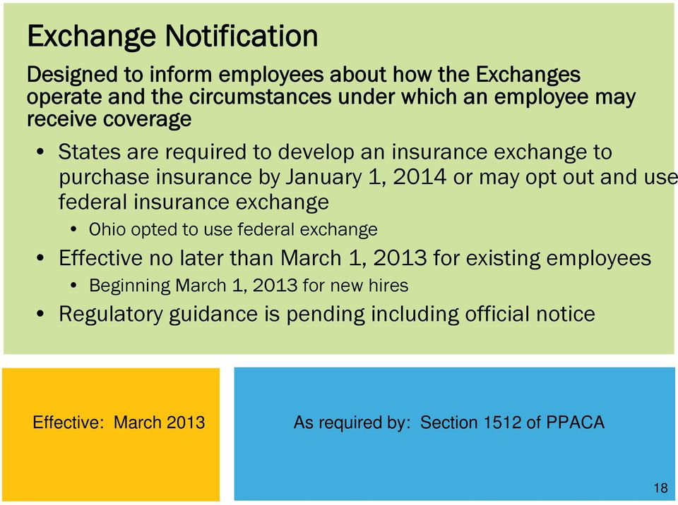 federal insurance exchange Ohio opted to use federal exchange Effective no later than March 1, 2013 for existing employees Beginning