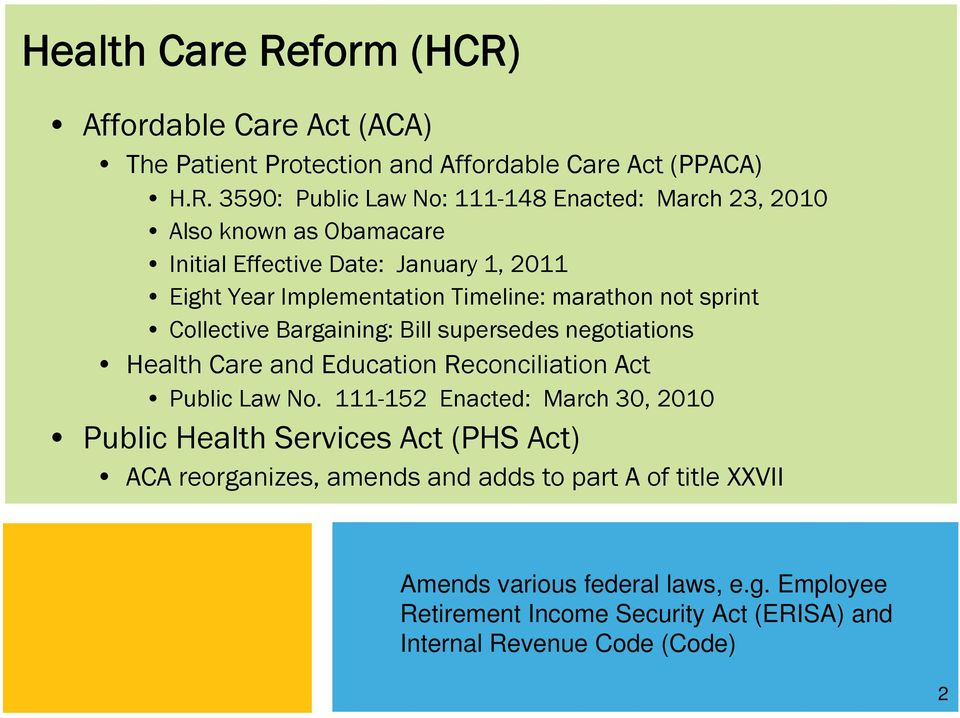 Affordable Care Act (ACA) The Patient Protection and Affordable Care Act (PPACA) H.R.
