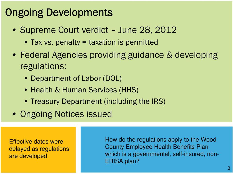 (DOL) Health & Human Services (HHS) Treasury Department (including the IRS) Ongoing Notices issued Effective dates