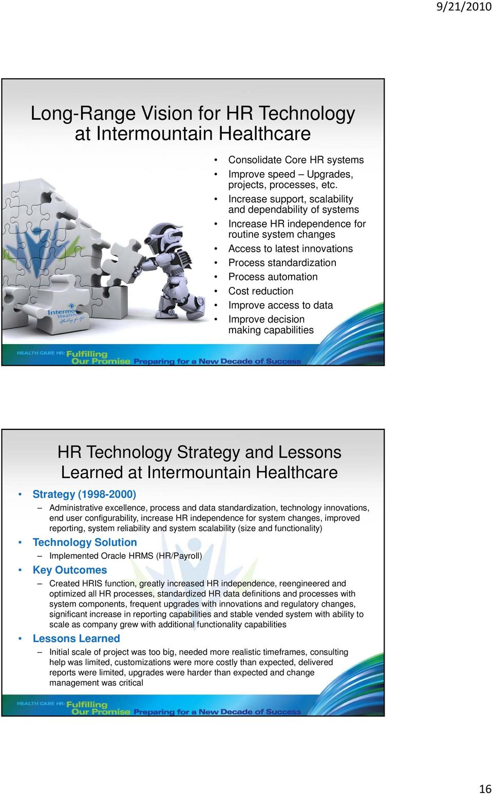 Improve access to data Improve decision making capabilities HR Technology Strategy and Lessons Learned at Intermountain Healthcare Strategy (1998-2000) Administrative excellence, process and data