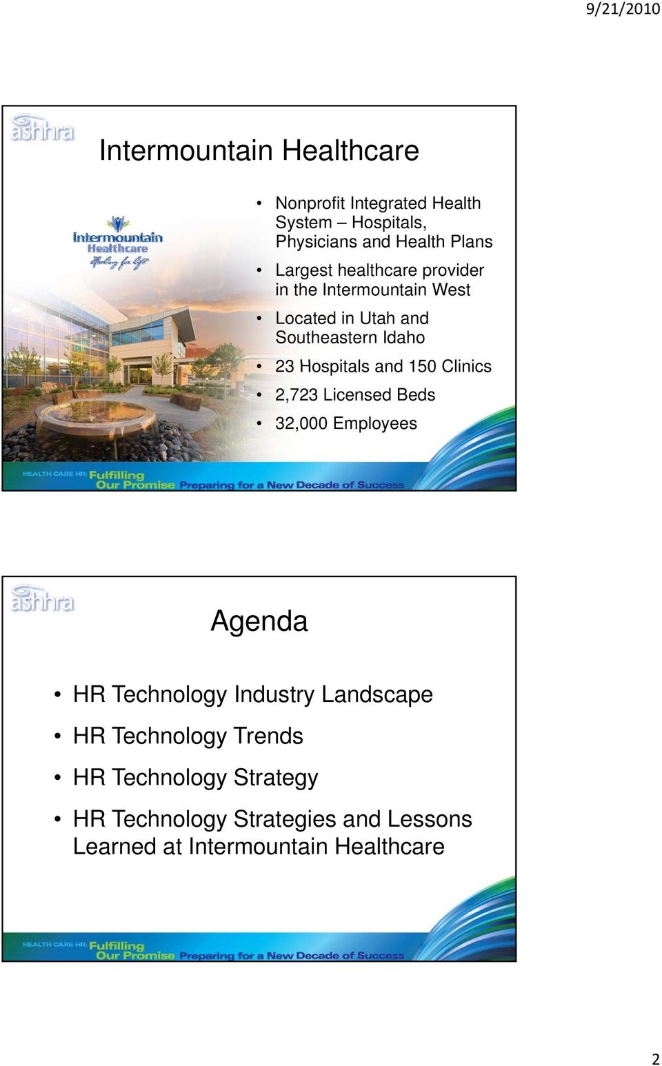 Hospitals and 150 Clinics 2,723 Licensed Beds 32,000 Employees Agenda HR Technology Industry Landscape