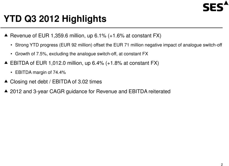 switch-off Growth of 7.5%, excluding the analogue switch-off, at constant FX EBITDA of EUR 1,012.