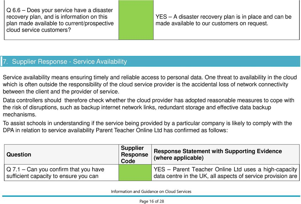 Supplier Response - Service Availability Service availability means ensuring timely and reliable access to personal data.