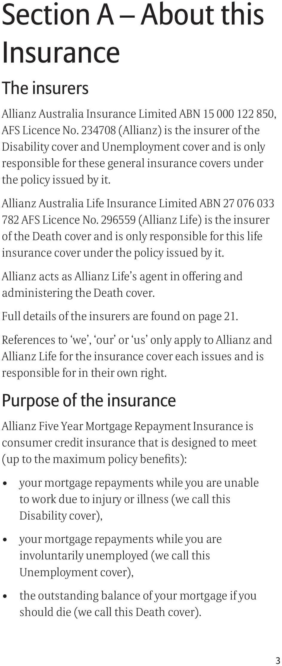 Allianz Australia Life Insurance Limited ABN 27 076 033 782 AFS Licence No.