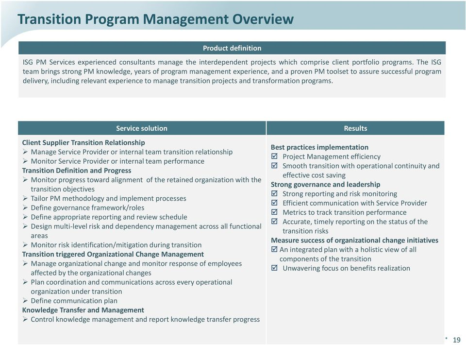projects and transformation programs.