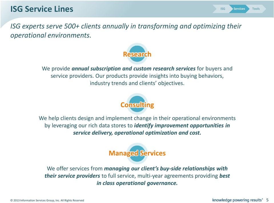 Consulting We help clients design and implement change in their operational environments by leveraging our rich data stores to identify improvement opportunities in service delivery, operational