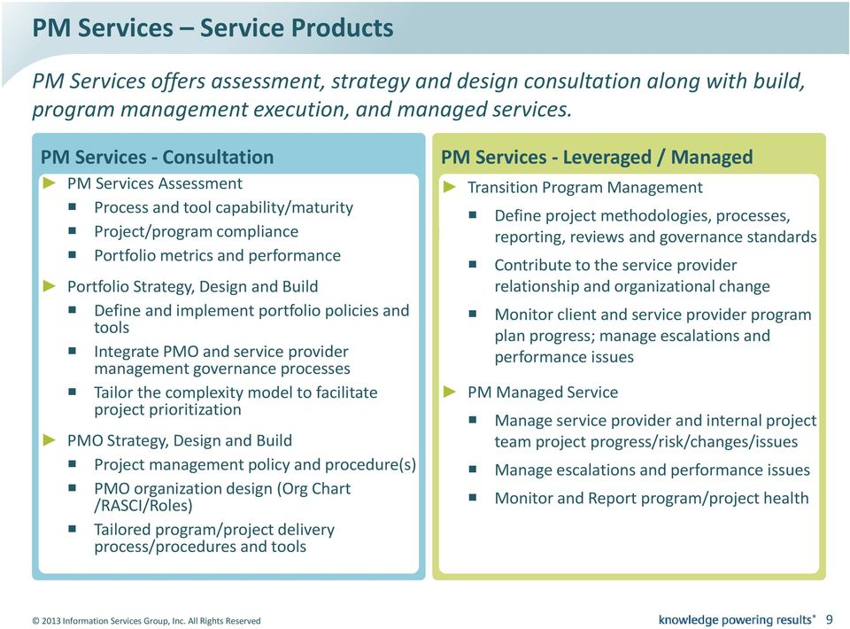 implement portfolio policies and tools Integrate PMO and service provider management governance processes Tailor the complexity model to facilitate project prioritization PMO Strategy, Design and