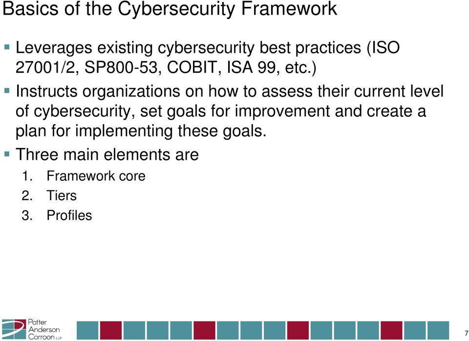 ) Instructs organizations on how to assess their current level of cybersecurity, set