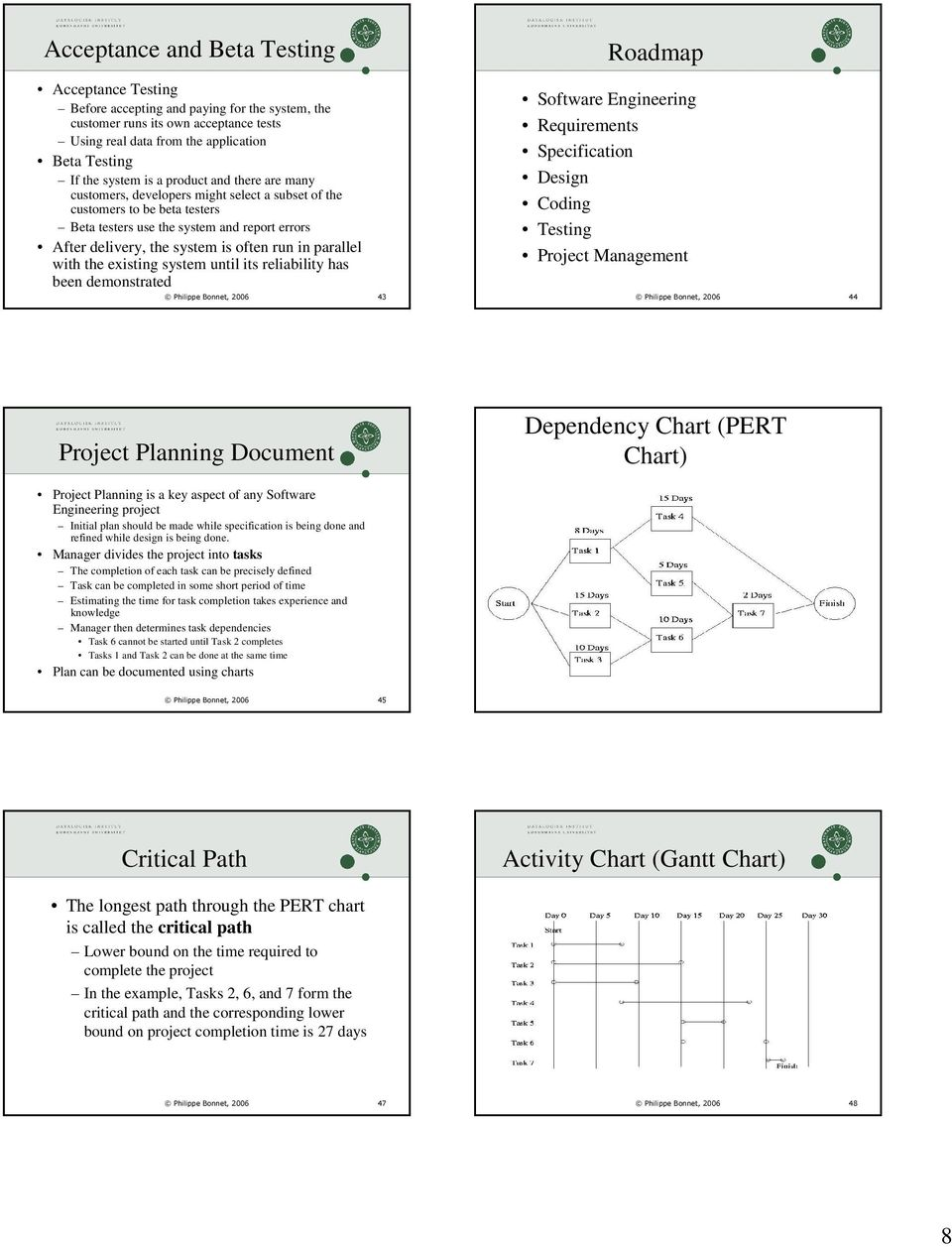 in parallel with the existing system until its reliability has been demonstrated Philippe Bonnet, 2006 43 Philippe Bonnet, 2006 44 Project Planning Document Dependency Chart (PERT Chart) Project